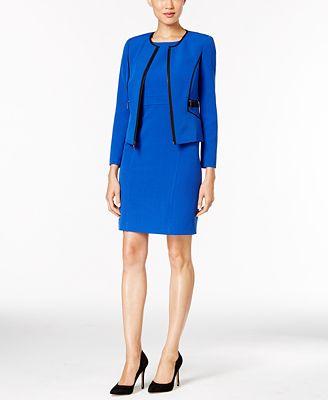 Kasper Petite Stretch Crepe Jacket & Sheath Dress