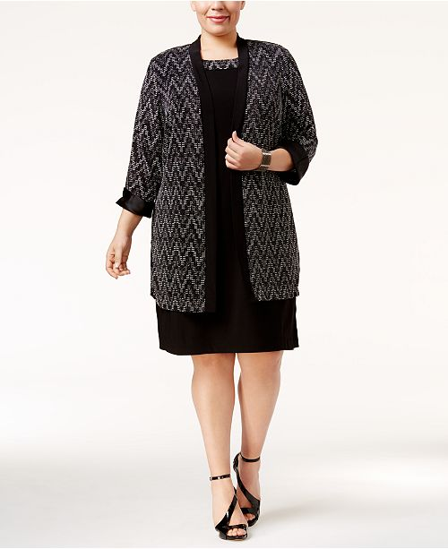 c3d6f68579fd5 R   M Richards. Plus Size Chevron Jacquard Dress and Duster Jacket. 2  reviews. main image ...
