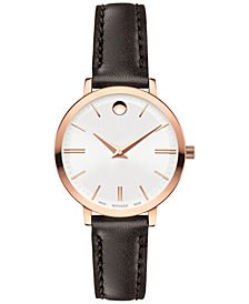 Movado Women's Swiss Ultra Slim Brown Leather Strap Watch 28mm 0607096