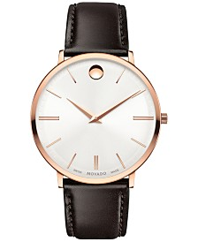 Movado Men's Swiss Ultra Slim Brown Leather Strap Watch 40mm 0607089