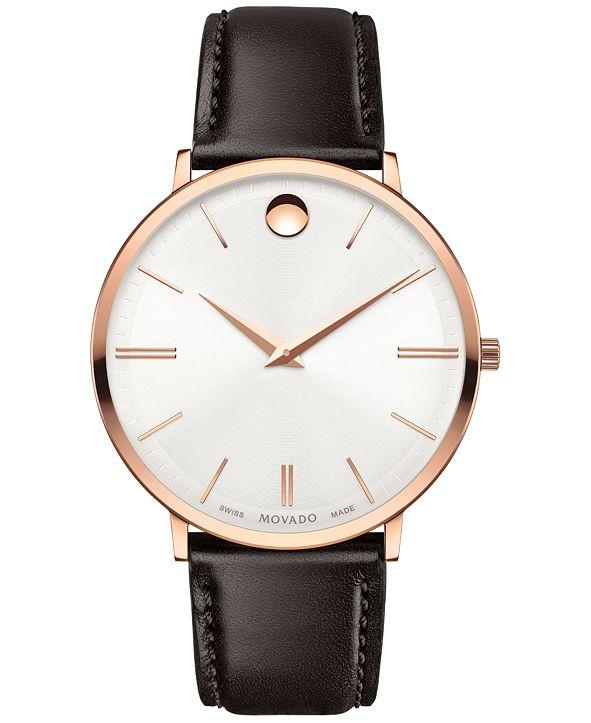 Movado Men's Swiss Ultra Slim Brown Leather Strap Watch 40mm 0607089