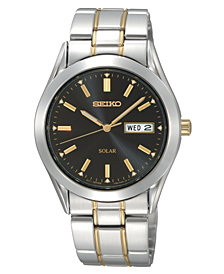 Seiko Watch, Men's Solar Two Tone Stainless Steel Bracelet 36mm SNE047