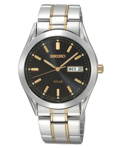 Seiko Watch, Men's Solar Two Tone Stainless Steel Bracelet 36mm SNE047