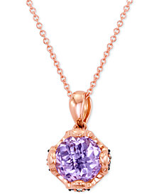 Le Vian® Chocolatier Pink Amethyst (1-3/4 ct. t.w.) and Diamond (1/10 ct. t.w.) Pendant Necklace in 14k Rose Gold