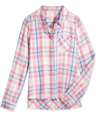 Image of Tinsey Plaid High-Low Shirt, Big Girls (7-16)