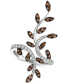 Le Vian® Chocolatier Diamond Leaf Ring (1 ct. t.w.) in 14k White Gold