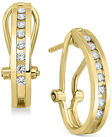Diamond J-Hoop Earrings (1/4 ct. t.w.) in Sterling Silver or 14K Gold-Plated Sterling Silver