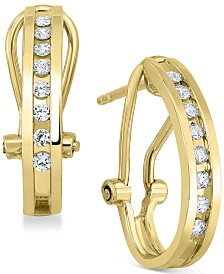 Diamond J-Hoop Earrings (1/4 ct. t.w.) in Sterling Silver or 14K Gold-Plated Sterling Silver