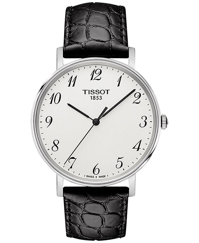 Tissot - Men's Swiss T-Classic Black Leather Strap Watch 38mm T1094101603200