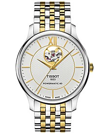Men's Swiss Automatic Tradition Powermatic 80 Open Heart Two-Tone Stainless Steel Bracelet Watch 40mm T0639072203800