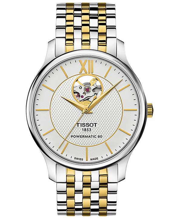 Tissot Men's Swiss Automatic Tradition Powermatic 80 Open Heart Two-Tone Stainless Steel Bracelet Watch 40mm T0639072203800