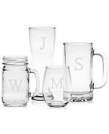 Monogram Glassware Collection, Sets of 2