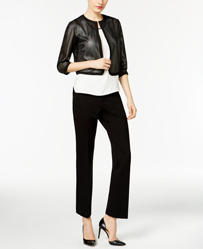 Anne Klein Faux-Leather Cardigan, Pleated Top & Trousers