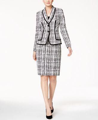 Kasper Plaid Jacquard Jacket & Pencil Skirt