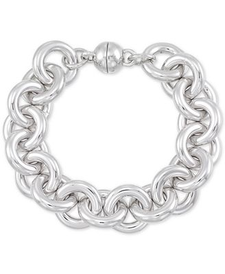 Signature Silver� Diamond Accent Large Link Bracelet in Sterling Silver Over Resin Core