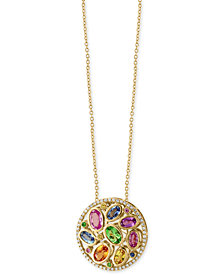 EFFY® Watercolors Multi-Gemstone (3-3/8 ct. t.w.) and Diamond (1/5 ct. t.w.) Pendant Necklace in 14k Gold, Created for Macy's