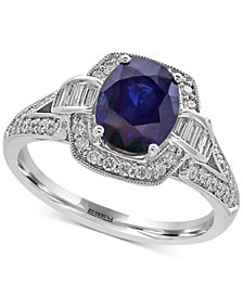EFFY® Royalé Bleu Sapphire (1-9/10 ct. t.w.) and Diamond (1/2 ct. t.w.) Ring in 14k White Gold, Created for Macy's