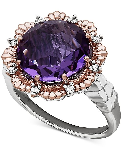 Bronzarte Amethyst (4-1/2 ct. t.w.) and Diamond (1/8 ct. t.w.) Ring in Sterling Silver and 14k Rose Gold Plate