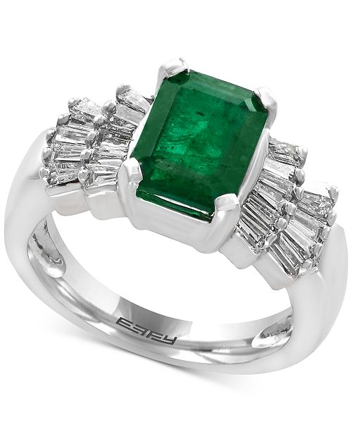 Brasilica by EFFY® Emerald (2-1/5 ct. t.w.) and Diamond (5/8 ct. t.w.) Ring in 14k White Gold, Created for Macy's