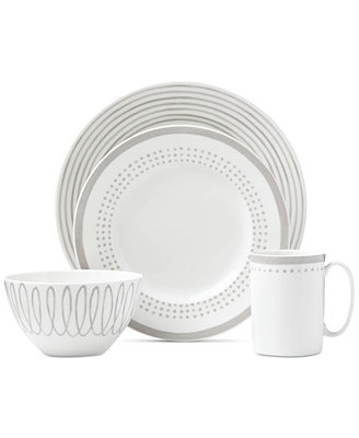 Charlotte Street East Grey Collection 4 Piece Place Setting by Kate Spade New York