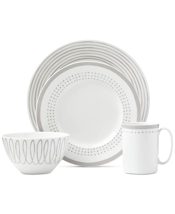 kate spade new york - Charlotte Street East Grey Collection 4-Piece Place Setting