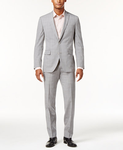 Bar III Men's Slim-Fit Light Gray Plaid Suit Separates, Created for Macy's