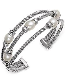 Cultured Freshwater Pearl (7-1/2mm) Three Row Cuff Bracelet in Sterling Silver