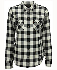 Levi's Women's New Orleans Saints Plaid Button Up Woven Shirt