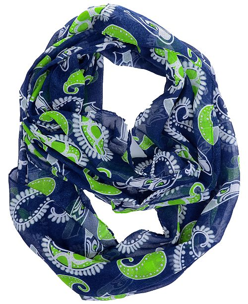 Forever Collectibles Seattle Seahawks All Over Logo Paisley Infinity Scarf