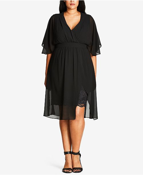 City Chic Trendy Plus Size Chiffon Dress & Reviews - Dresses ...