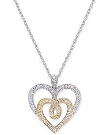 Diamond Two-Tone Heart Pendant Necklace (1/3 ct. t.w.) in 14k Gold and White Gold