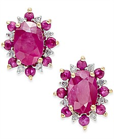 Ruby (1-5/8 ct. t.w.) and Diamond Accent Stud Earrings in 14k Gold