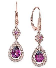 Rhodolite Garnet (1-1/2 ct. t.w.) and Diamond (1/3 ct. t.w.) Drop Earrings in 14k Rose Gold