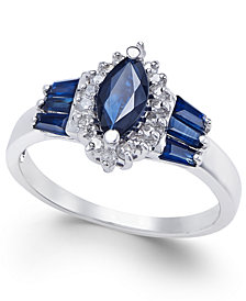 Sapphire (1-3/8 ct. t.w.) and Diamond (1/6 ct. t.w.) Ring in 14k White Gold