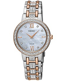 Seiko Women's Solar Two-Tone Stainless Steel Bracelet Watch 28mm SUP362