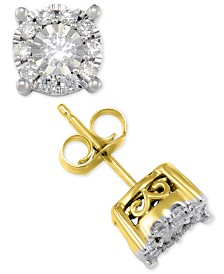 Diamond Halo Stud Earrings (1/2 ct. t.w.) in 14k White or Yellow Gold