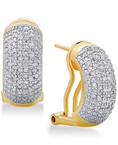 Diamond Bombay J-Hoop Earrings (1/2 ct. t.w.) in Sterling Silver, 18K Gold-Plated Sterling Silver or 18K Rose Gold-Plated Sterling Silver