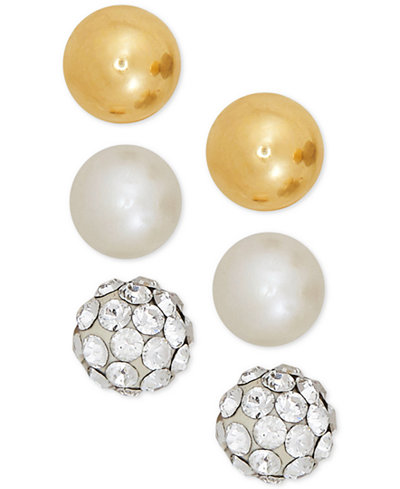 3-Pc. Cultured Freshwater Pearl (3-3/4mm), Crystal Fireball and Gold Ball Stud Earrings Set in 14k Gold