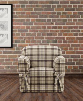 CLOSEOUT! Highland Plaid 1-Pc. Chair Slipcover