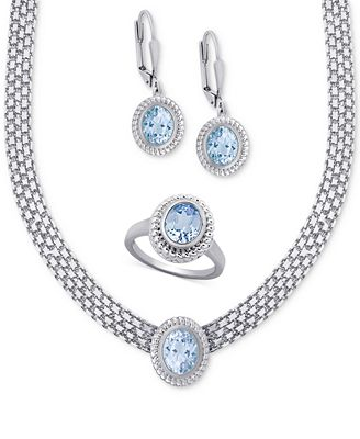 Blue Topaz Collar Necklace, Drop Earrings and Ring Set (10 ct. t.w.) in Sterling Silver