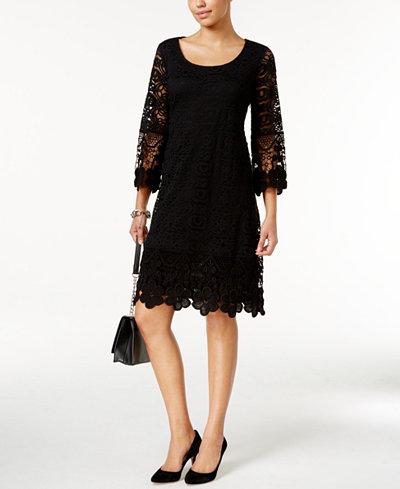 Alfani Crochet-Trim Illusion Dress, Created for Macy\'s - Dresses ...