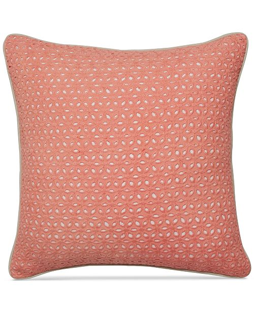 Martha Stewart Collection CLOSEOUT Seashell Pink Embroidered Eyelet Custom Seashell Pillows Decorative