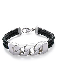 Sutton by Rhona Sutton Men's Stainless Steel Black Leather Bracelet
