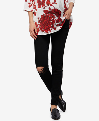 Articles of Society Maternity Distressed Black-Wash Ankle Jeans