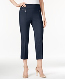 Style & Co Petite Pull-On Faux Zip-Pocket Capri Pants, Created for Macy's