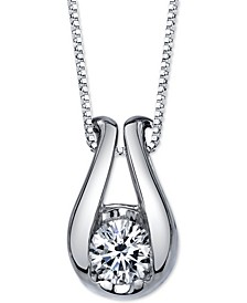 Diamond Horseshoe Pendant Necklace (1/5 ct. t.w.) in 14k White Gold