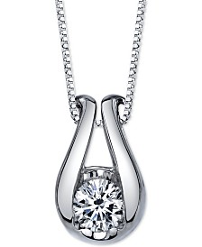 Sirena Diamond Horseshoe Pendant Necklace (1/5 ct. t.w.) in 14k White Gold