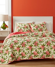 Martha Stewart Collection  100% Cotton Tropical Grove Reversible King Quilt, Created for Macy's