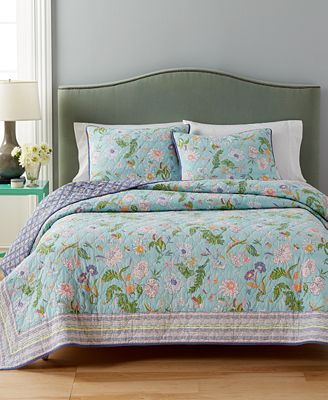 CLOSEOUT! Martha Stewart Collection Sophie Reversible Floral Quilt ... : macys bedding quilts - Adamdwight.com