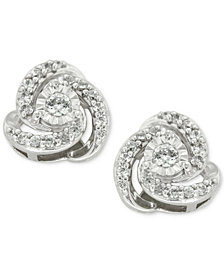 Diamond Love Knot Stud Earrings (1/4 ct. t.w.) in 10k White Gold